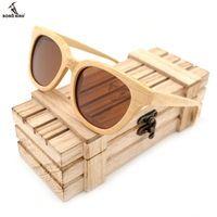 cb8e9aec13 Hecho A Mano del PÁJARO BOBO Nuevo Estilo de Madera De Bambú gafas de Sol  Polarizadas