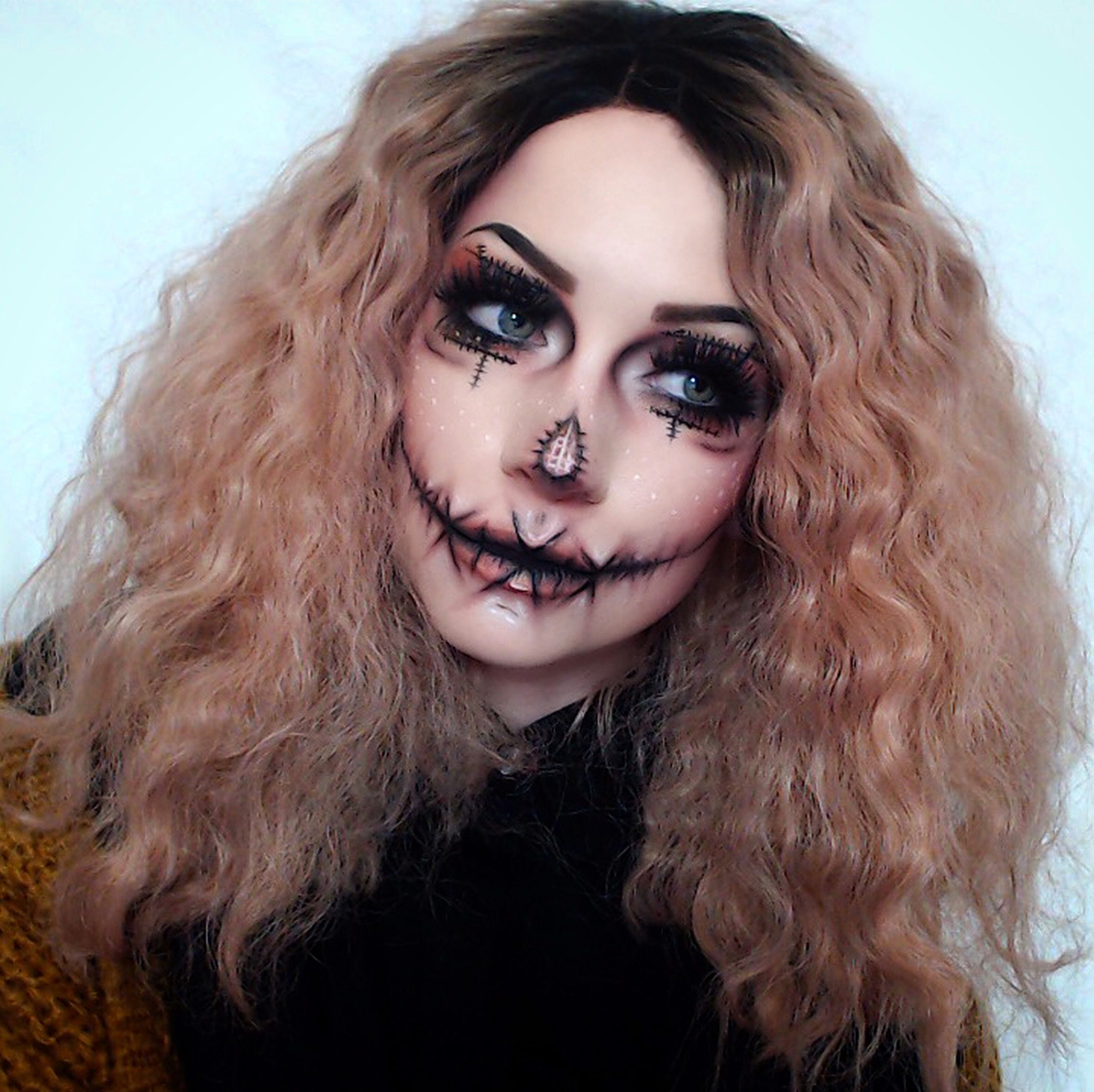 Cute creepy scarecrow Halloween makeup fx scary pretty