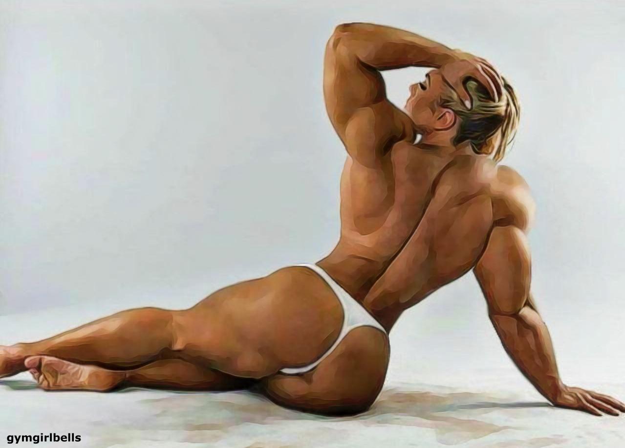 Gay bodybuilder art digital painting print nude naked skinhead dance queer lgbt pride greeting card for sale by vykkurt