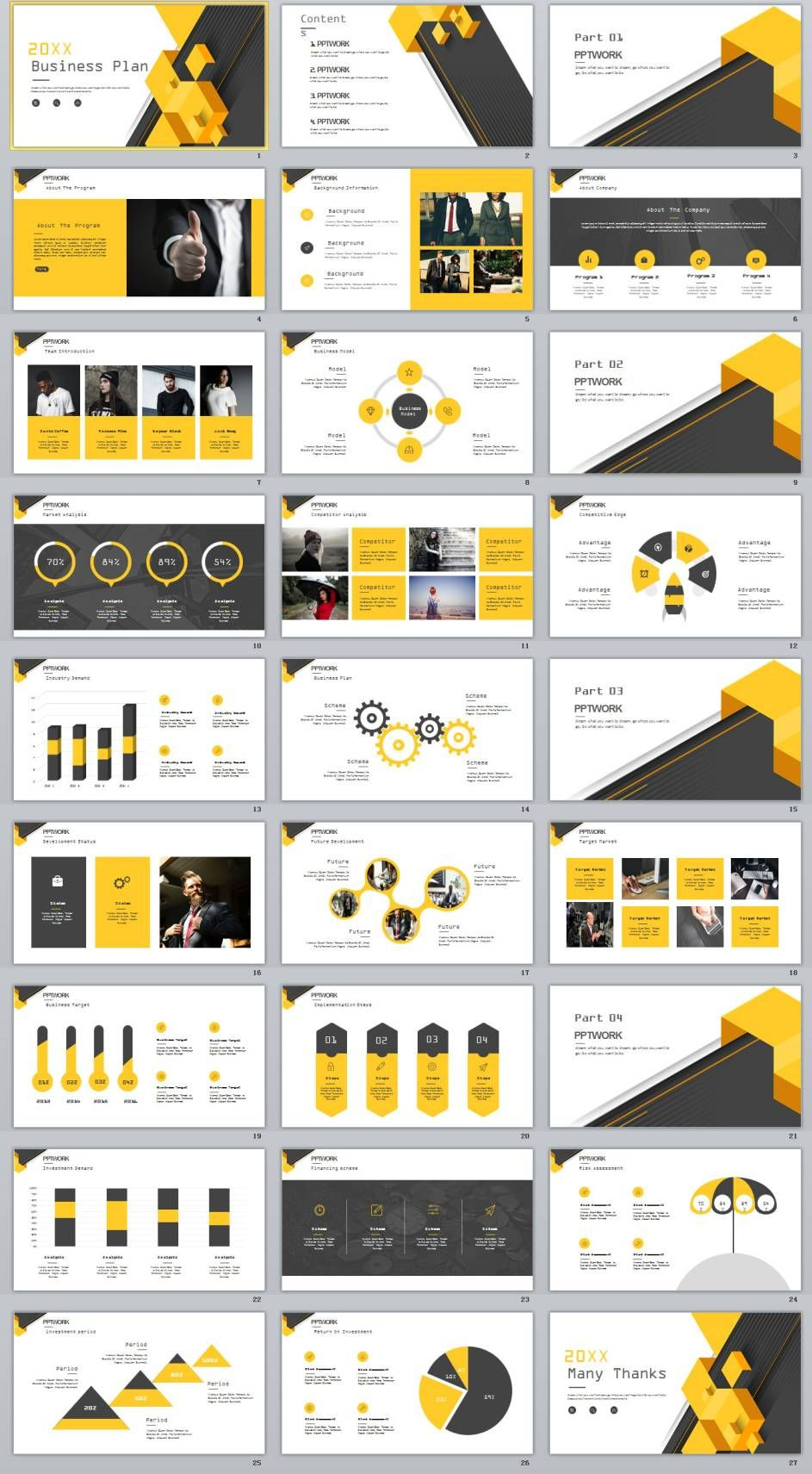 27 yellow business report plan powerpoint template toneelgroepblik Choice Image