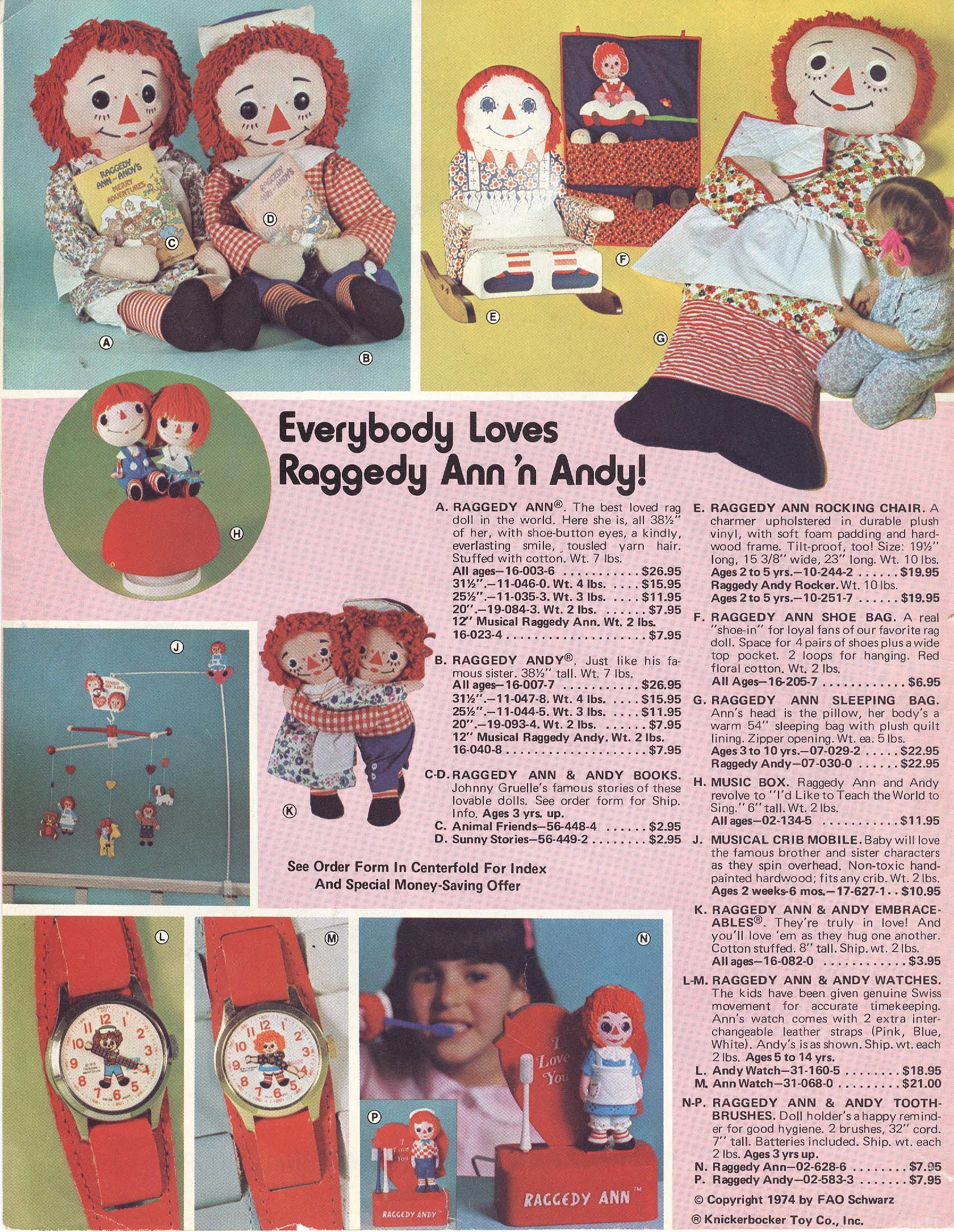 fao schwarz #toy #catalogue #1974 Raggedy Ann