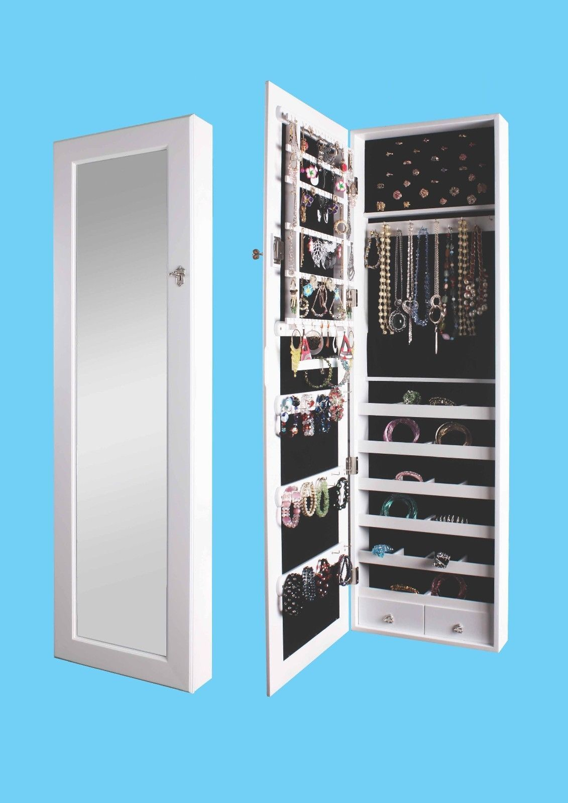 Mirrored Jewelry Armoire Cabinet Storage Wall Mount Hang Over The Door Case Box Ebay