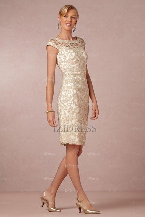 A-Line/Princess Jewel Knee-length Lace Mother of the Bride ...