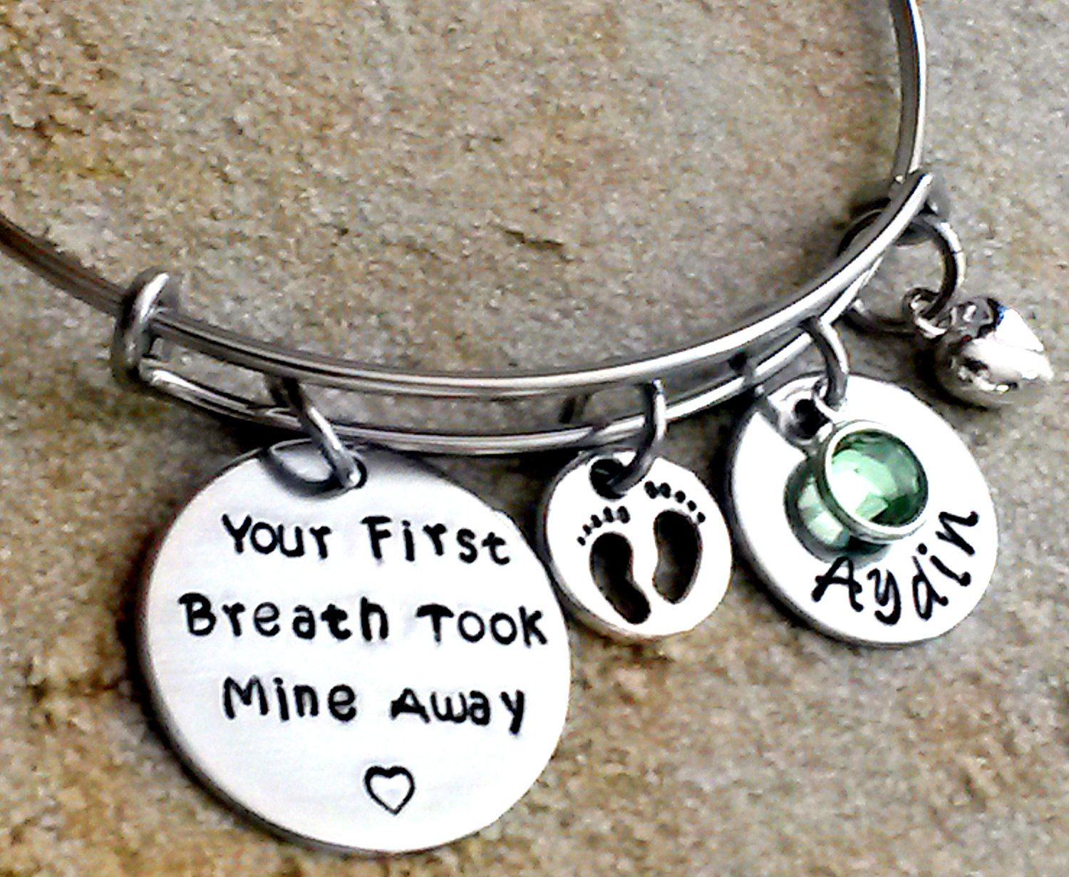 Personalized Bangle Bracelet Your First Breath Took Mine Away Charm New Mom Gift Baby Name For Her
