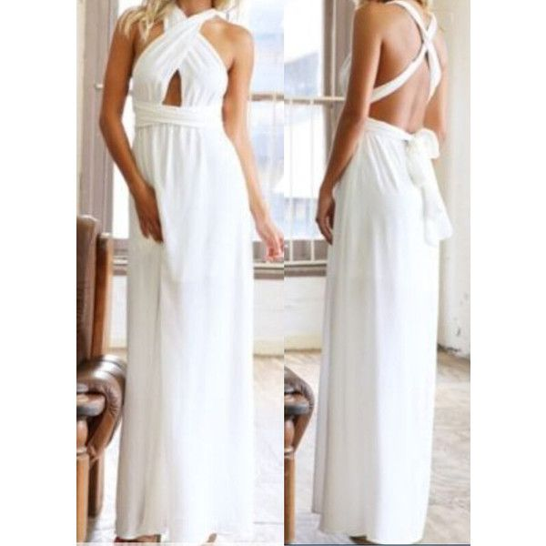White Halter Cross Strap Maxi Dress ($15) ❤ liked on Polyvore featuring dresses, white, white sheath dress, white halter top, white maxi dress, halter dress and sleeveless maxi dress