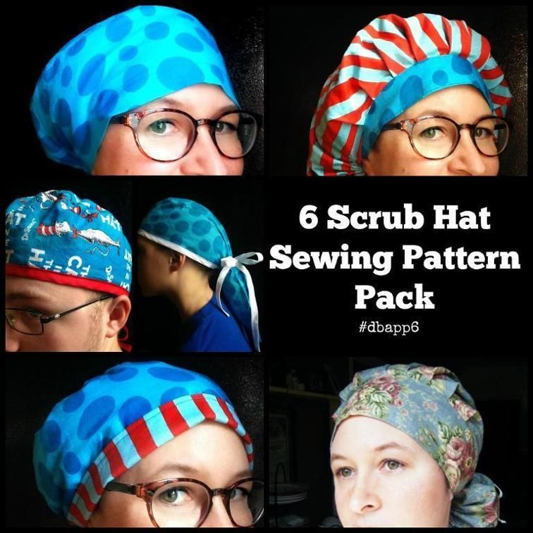 Surgical Scrub Cap Hat Patterns 6 pack Hat patterns to