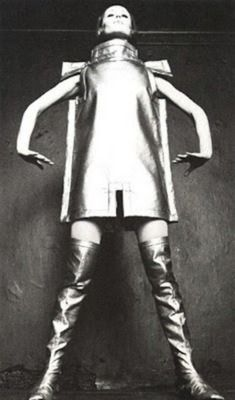 Alice Edeling, Tunic and boots in metallic fabric. The Netherlands, late 1960's