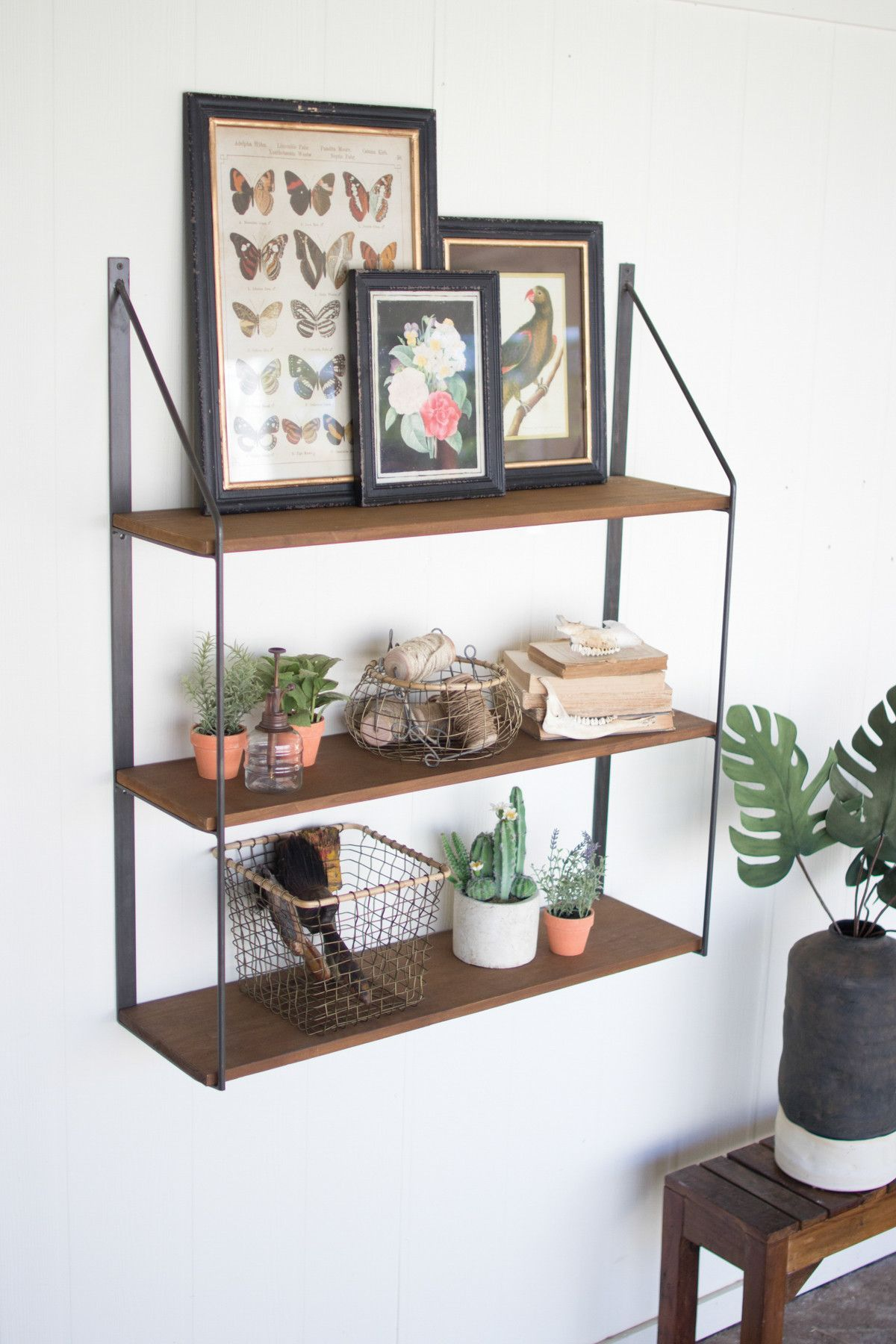 kalalou three tiered wooden shelf with metal trim i want in 2019 rh pinterest com