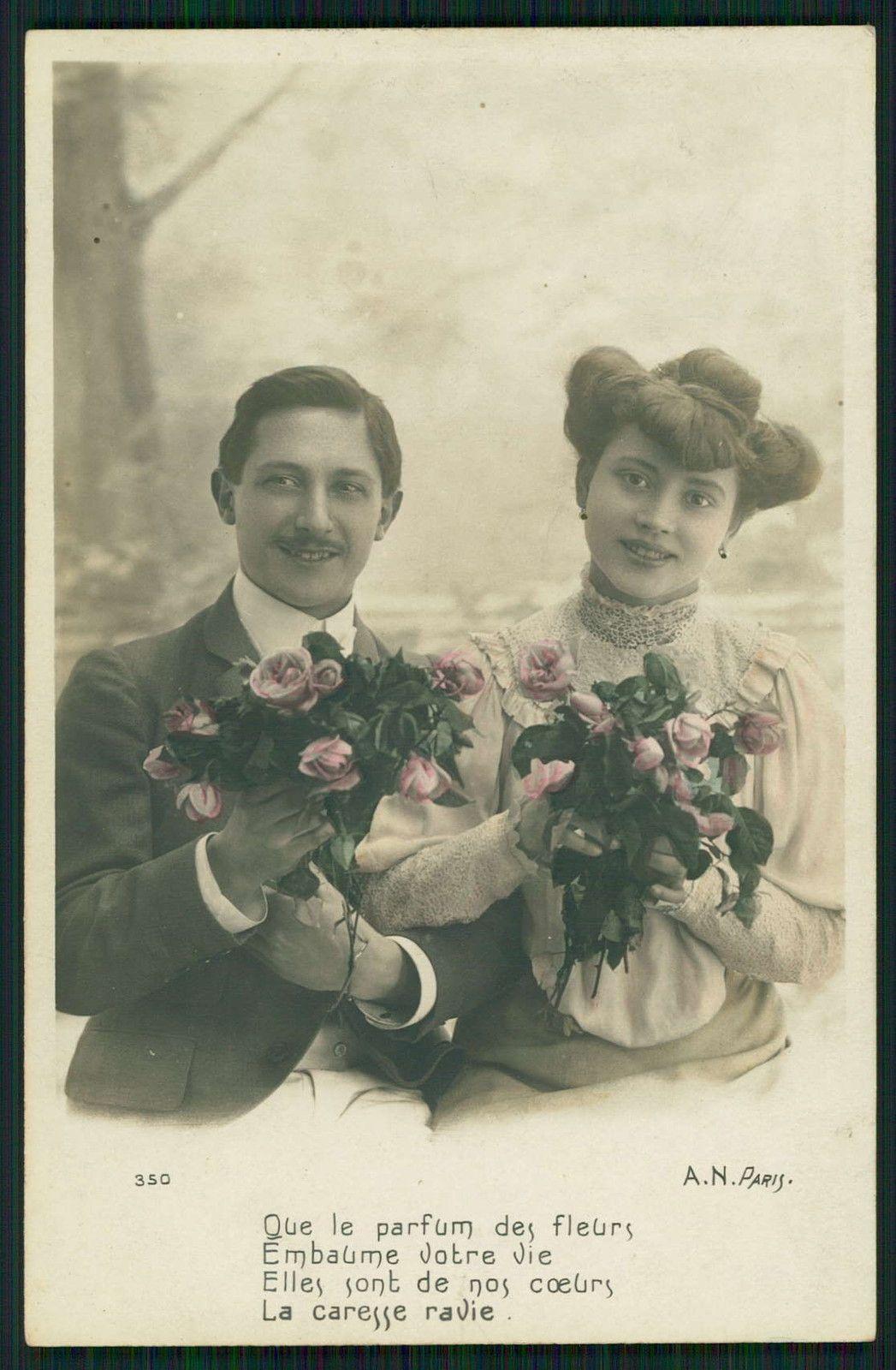 Edwardian Lady Love Romance Couple flirt original old