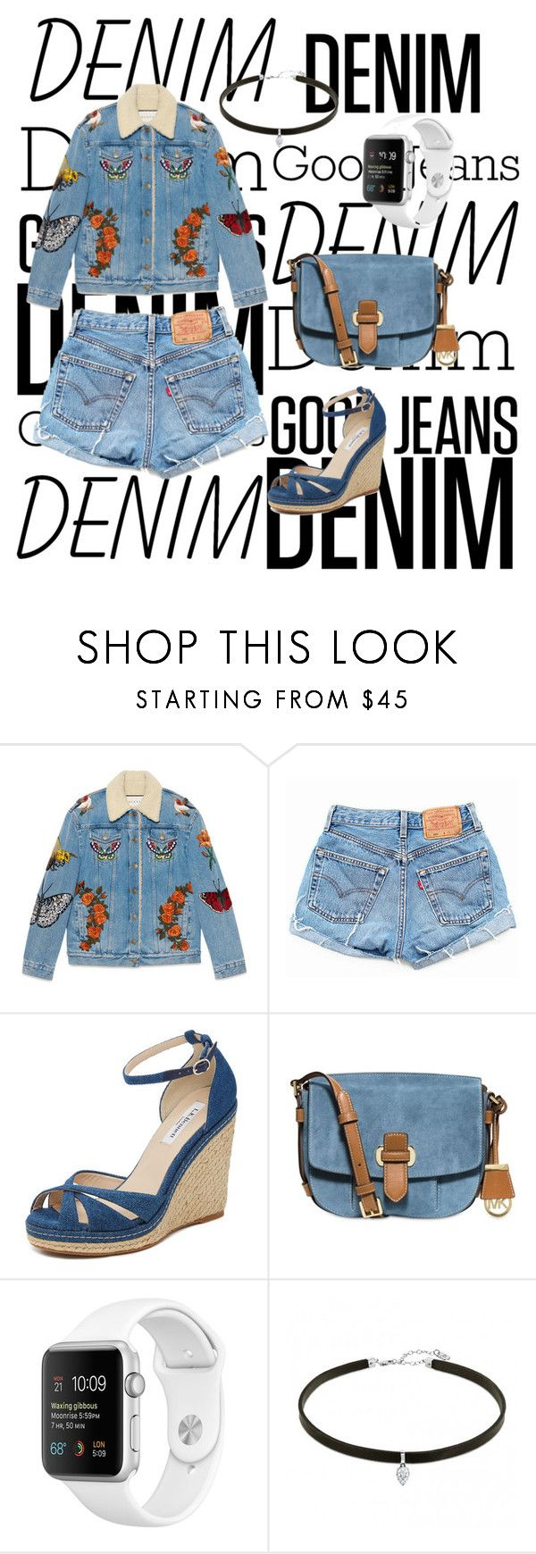 """Denim on Denim"" by fantalia2604 ❤ liked on Polyvore featuring Gucci, Levi's, L.K.Bennett, MICHAEL Michael Kors and Denimondenim"