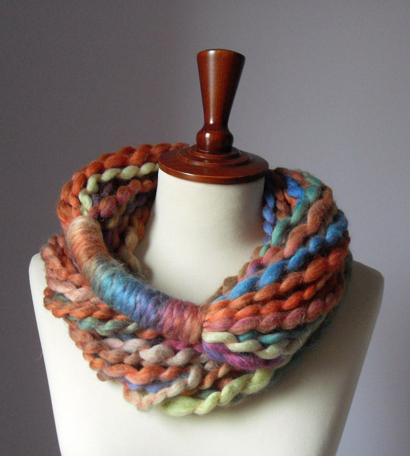 Infinity Scarf Orange Pink Blue Brown Turquoise - Chunky - Accessories - Long - MINI LOOP SCARF. $45.00, via Etsy.