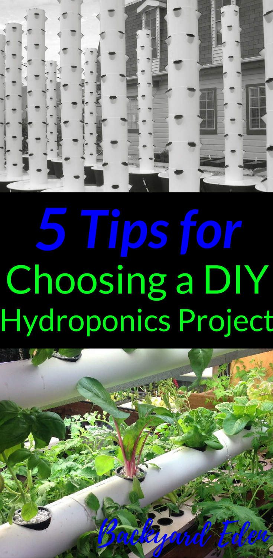 5 Tips For Choosing A Diy Hydroponics Project Backyard Eden Hydroponics Diy Hydroponics System Hydroponic Gardening