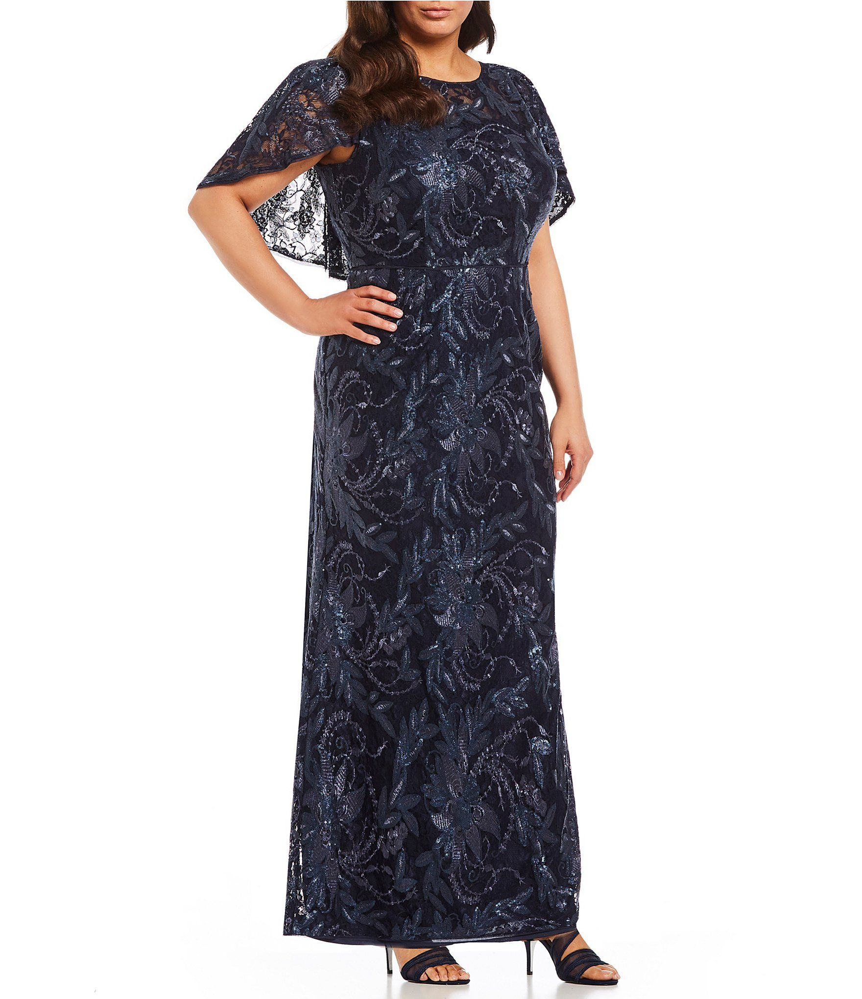 b2d4ae439fe Shop for Adrianna Papell Plus Size Caplet Sequin Lace Gown at Dillards.com. Visit  Dillards.com to find clothing