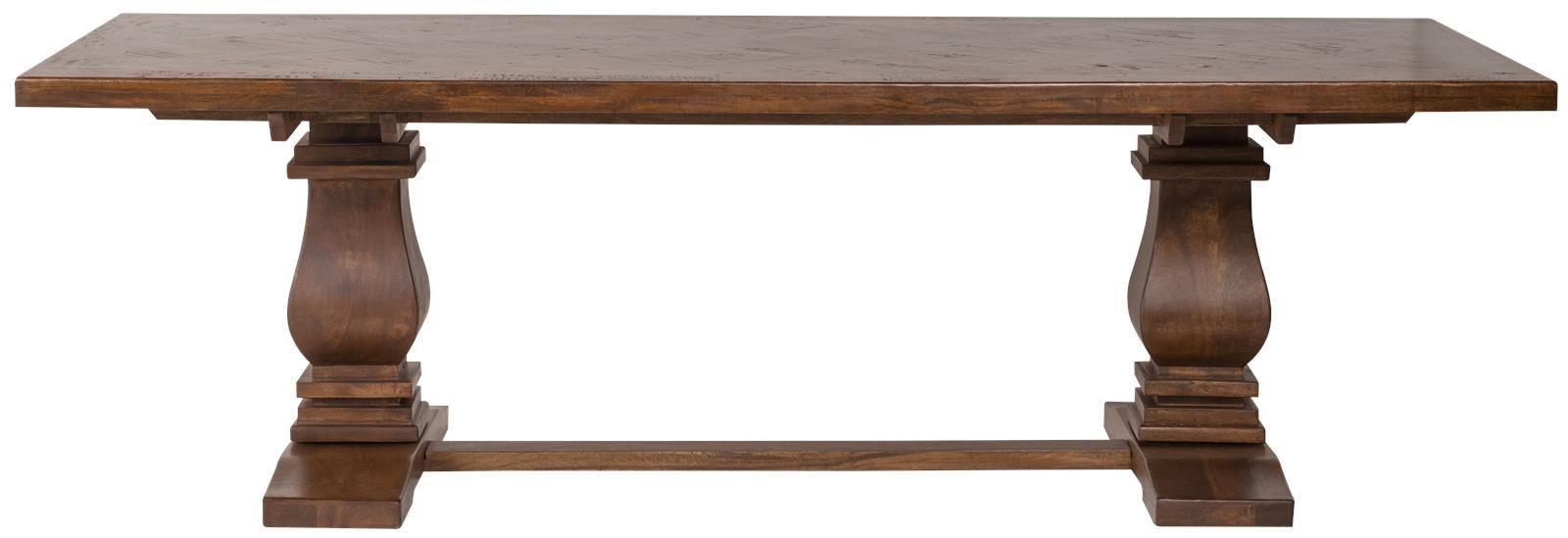 dining table napa chunky wood pillars inlaid top rectangle aged rh pinterest co uk