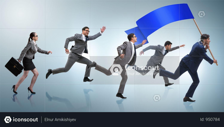 Businessman With Blank Banner Running In Business Concept Photo Business Man Business Risk Blank Banner