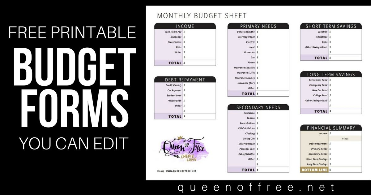 All New FREE Printable Budget Forms You Can Edit Budget forms - budget forms
