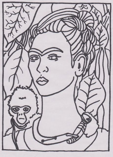 - Blue Sparrows Art Club Blog: Frida Kahlo Colouring Pages Frida Kahlo  Pinturas, Frida Kahlo Dibujo, Dibujos