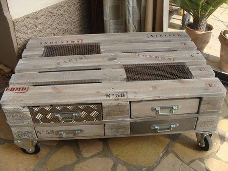 fb mtal et dcoration table basse palette caisses et palettes - Table Basse En Caisse En Bois