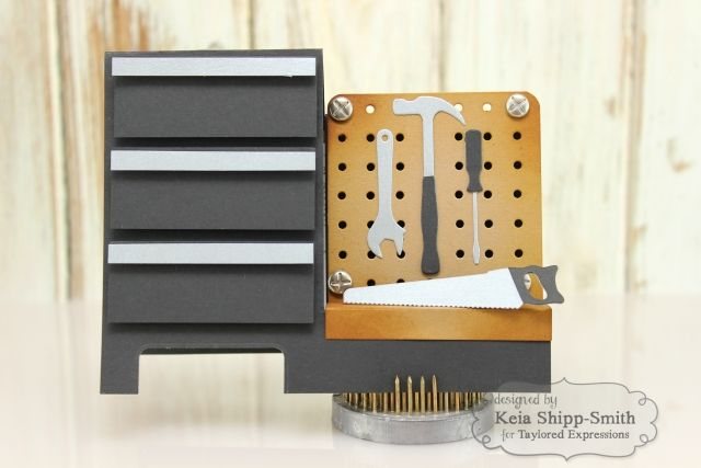 card for men masculine handyman handy women tool tools tool charms hammer saw screwdriver wrench pegboard cover up Tool Chest by Keia Shipp-Smith*