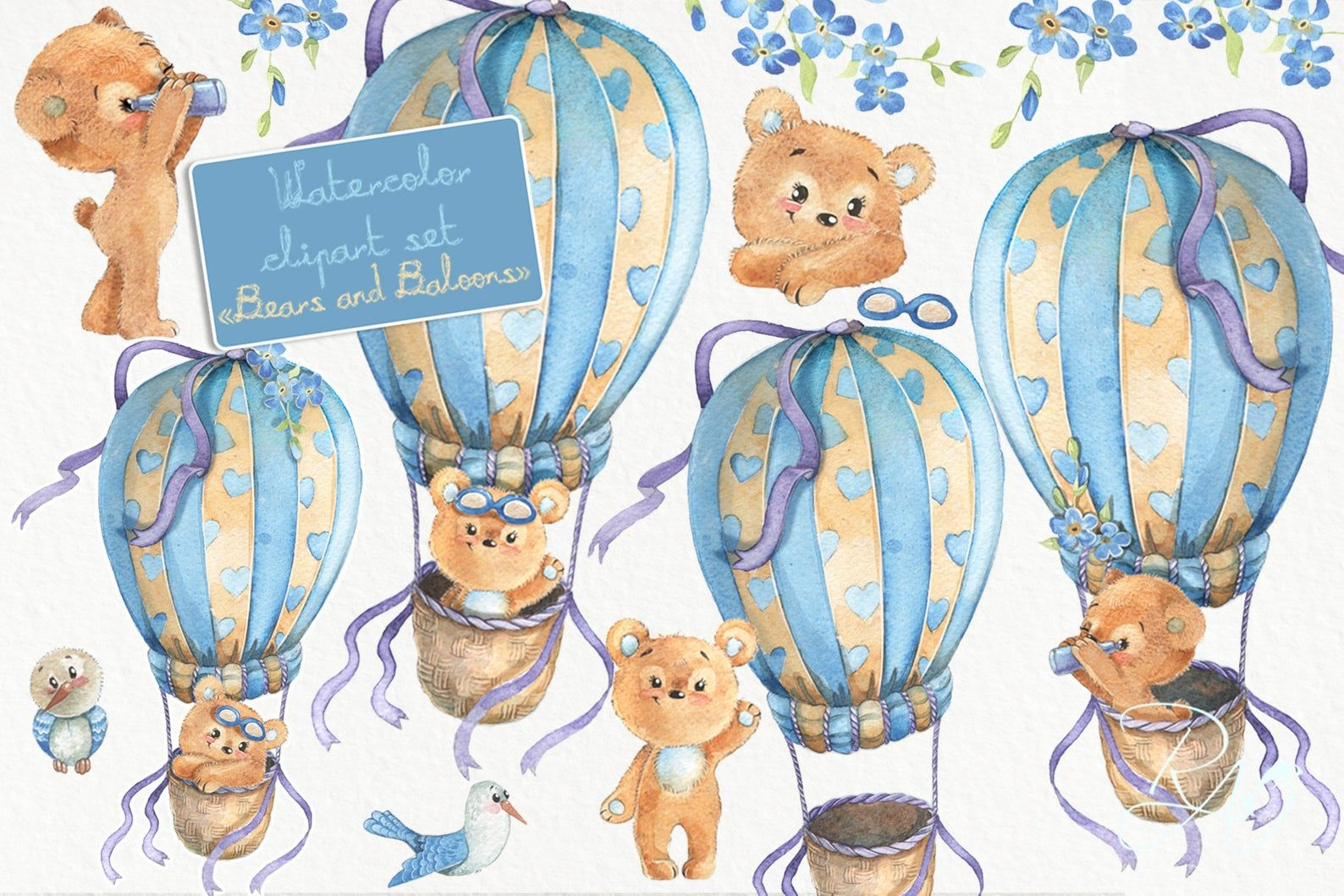 Hot Air Balloons Clipart Cute Watercolor Teddy Bear Clip Art Diy