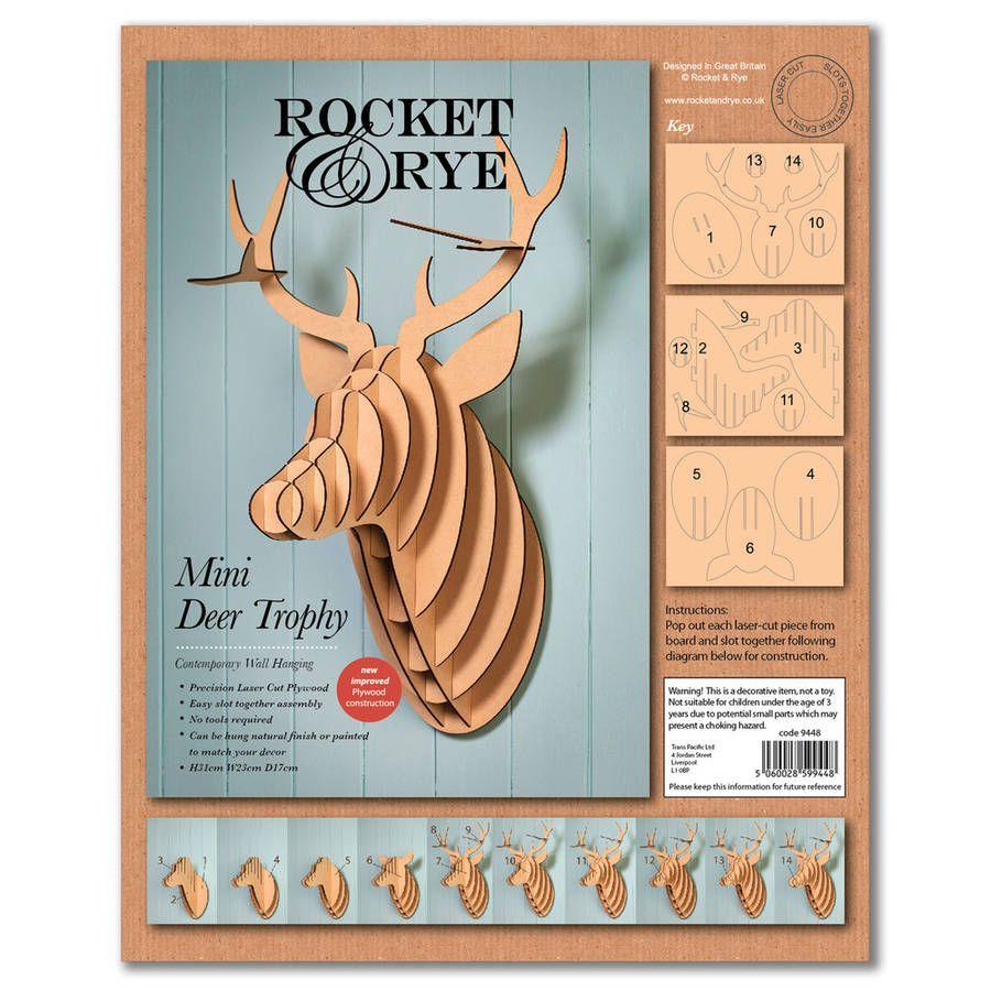 Laser Cut Wooden Stag Head Trophy | 3D models | Pinterest ...