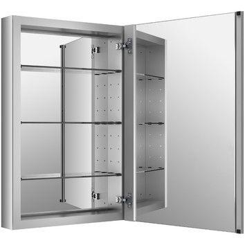 Verdera Recessed Or Surface Mount Frameless Medicine Cabinet With 3 Adjustable Shelves
