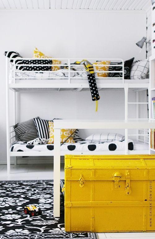 Black White Yellow Children S Room Yellow Kids Rooms Kids