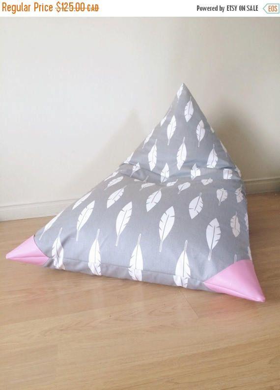 Bean Bag Pour Enfant A Motifs De Plumes Gris Et Blanc Pouf En Canvas Et Cuirette Chaise A Billes De Polystyrene Kids Bean Bags Bed Pillows Pouf