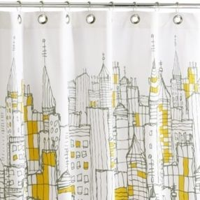cityscape shower curtain 72x72 by cb2
