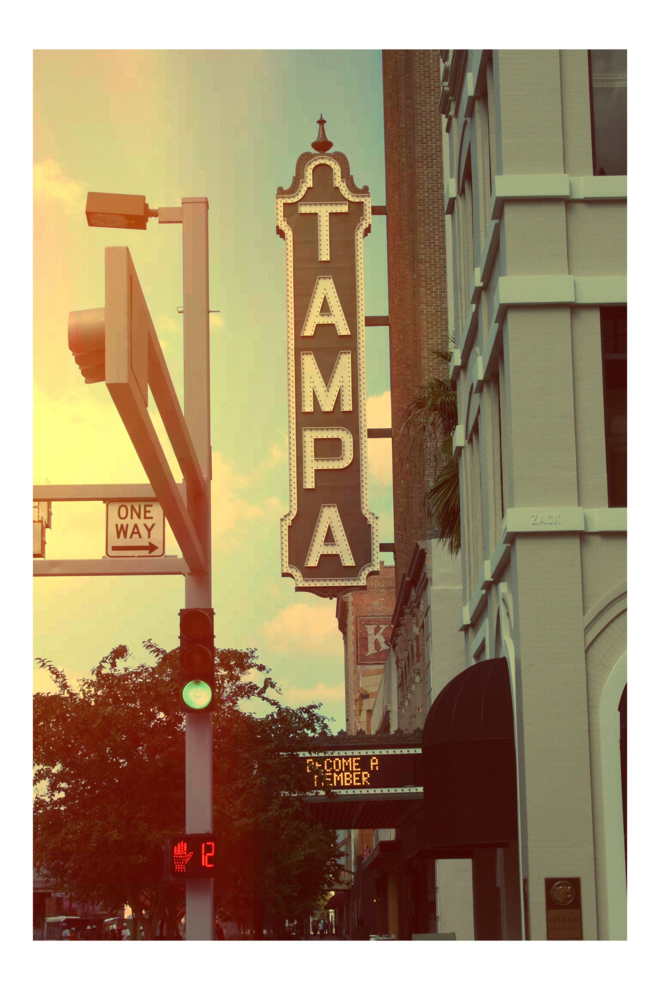 The iconic Tampa Theater sign.