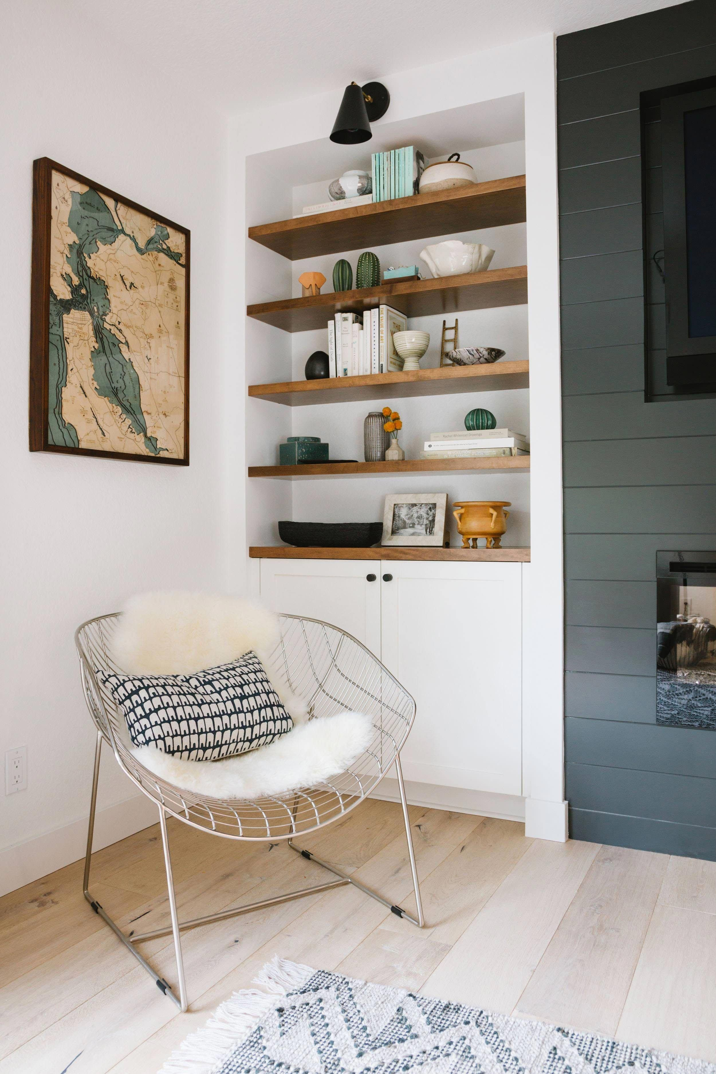 shiplap fireplace and open shelving home style rh pinterest com