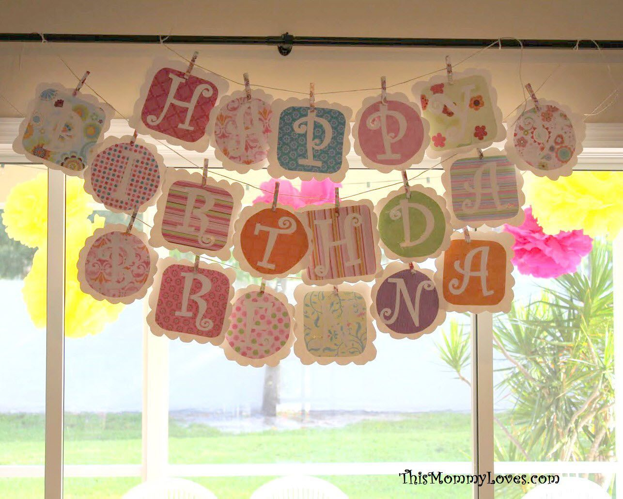 Hang letters on twine with clothespins good
