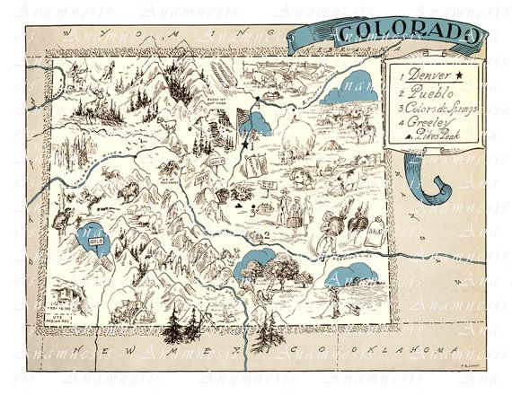 Colorado Map Print Instant Digital Download Picture Map Etsy Colorado Map Vintage Maps Art State Map Wall Art