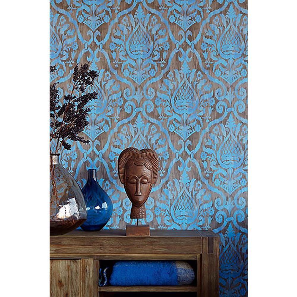 Brewster Argos Blue Damask Wallpaper 353056 The Home D