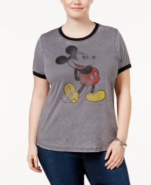 360fe35882d35 Mighty Fine Trendy Plus Size Cotton Mickey Mouse Graphic T-Shirt - Gray 2X