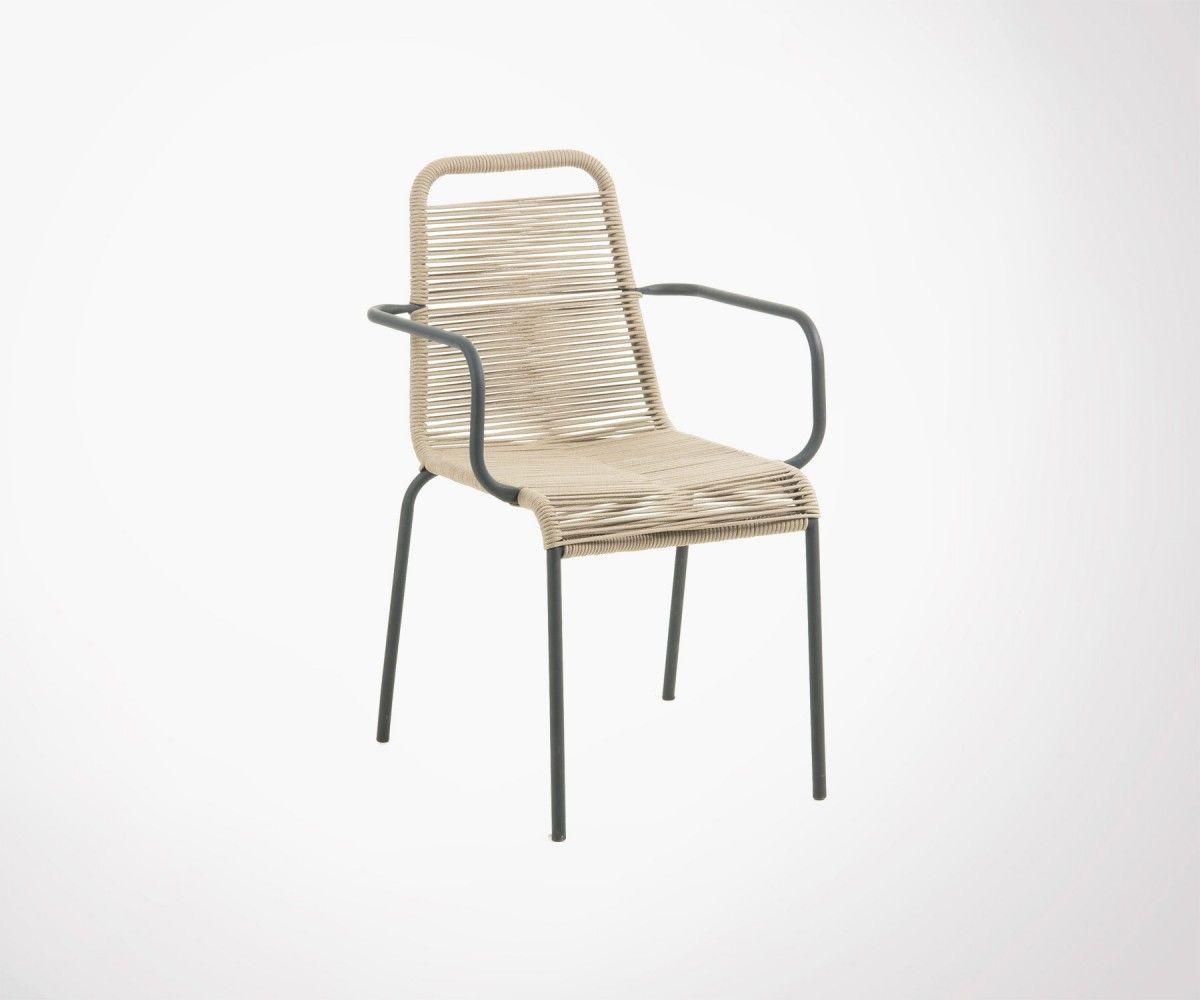 Chaise De Jardin En Corde Avec Accoudoirs Interieur Et Exterieur