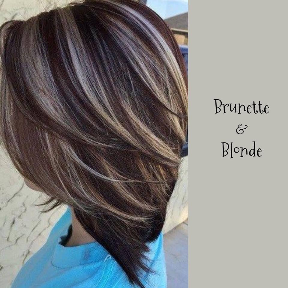 Blonde highlights and dark brown lowlights on medium brown hair
