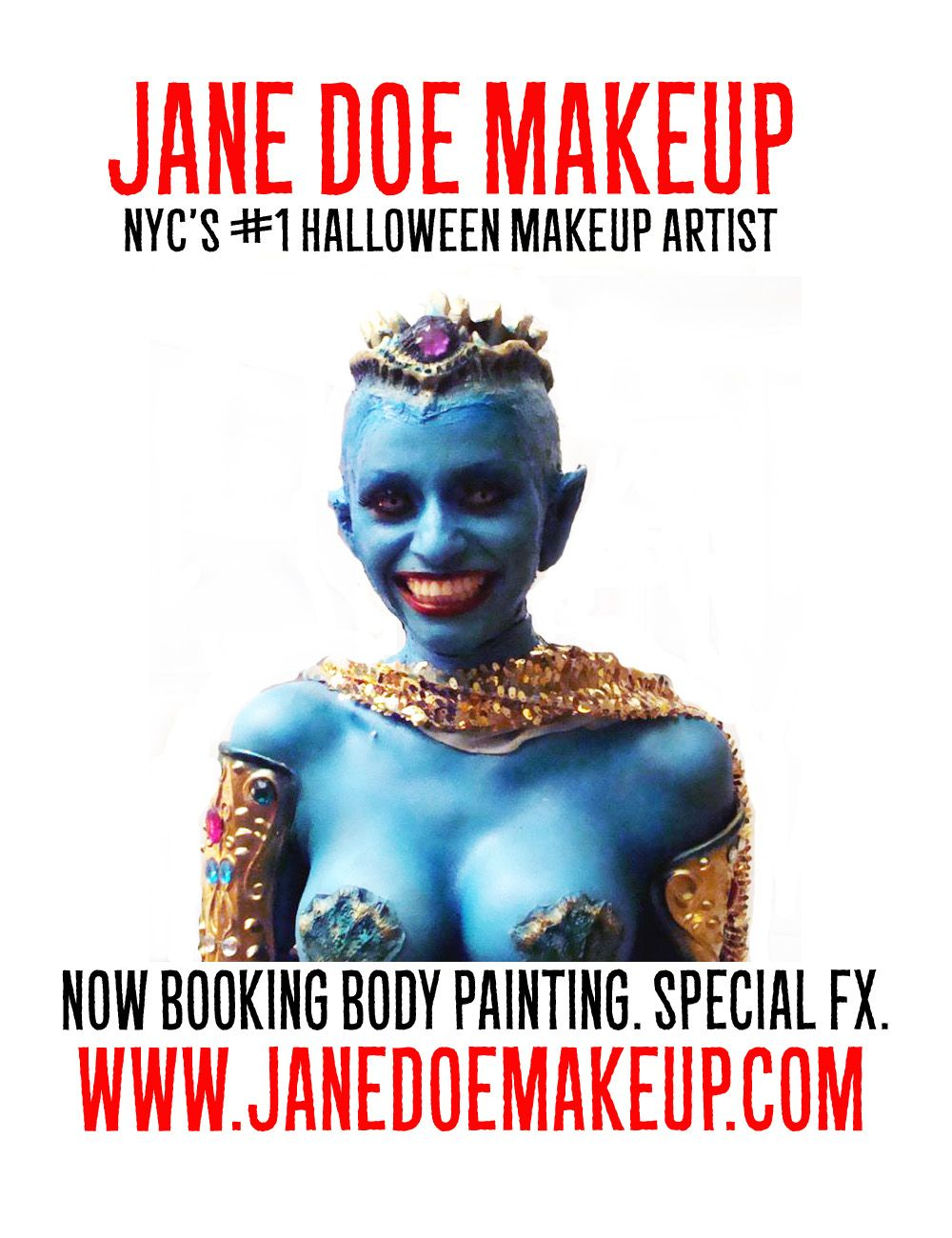 1 NYC Halloween Makeup Artist Body Painting Special FX - Jane Doe ...