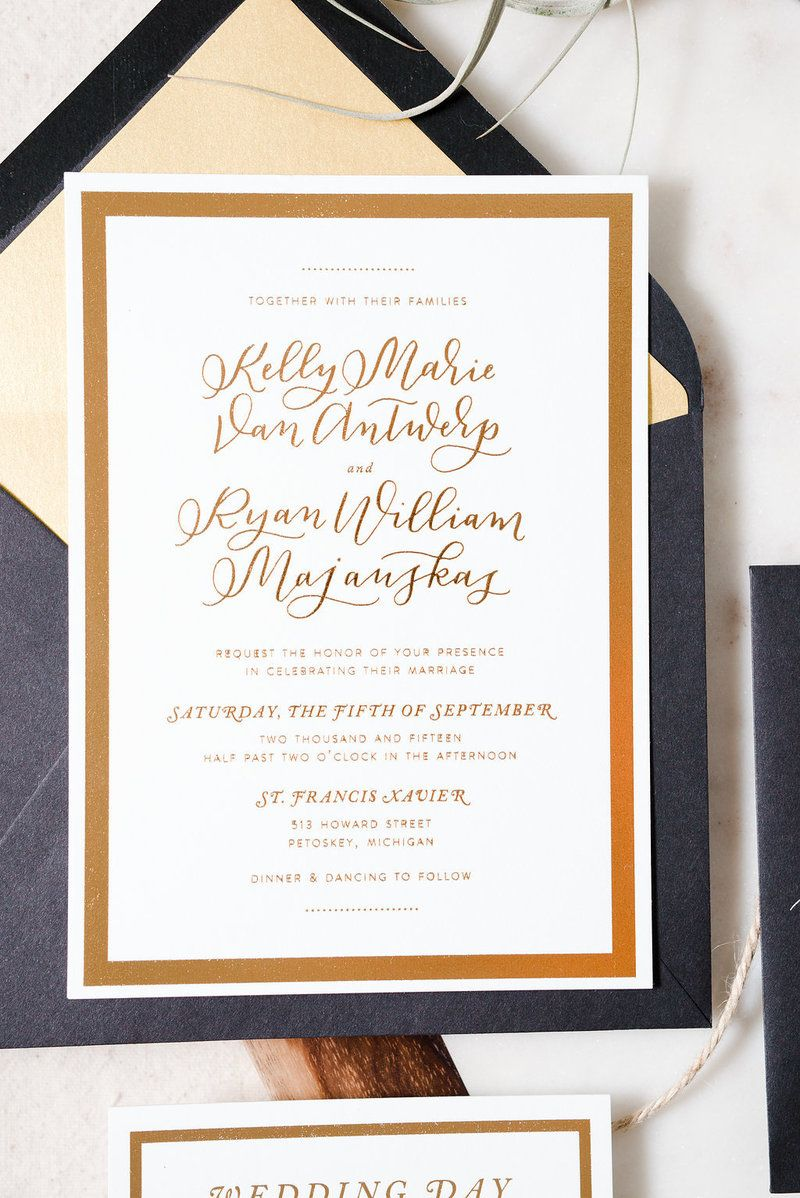 gold and white wedding invitations%0A Custom black  white  and gold  classic and modern inspired wedding  invitation suite
