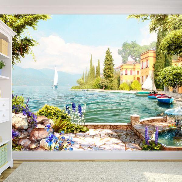 Papier Paint Vinyle Jardin au bord du lac #papierpeint #decoración