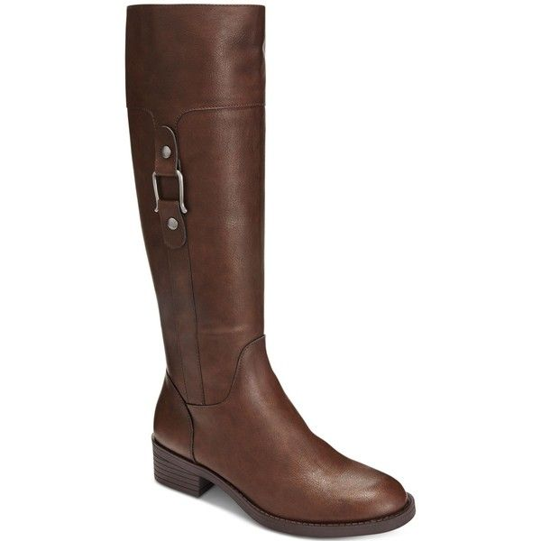 Style & Co. Astarie Riding Boots, ($100) ❤ liked on Polyvore featuring shoes, boots, brown, brown knee high boots, brown boots, brown riding boots, equestrian boots and brown knee high riding boots