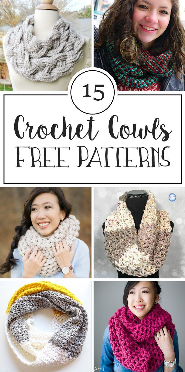 15 Free Patterns for Crochet Cowls | Mitones, Bufanda cuello y Tejido