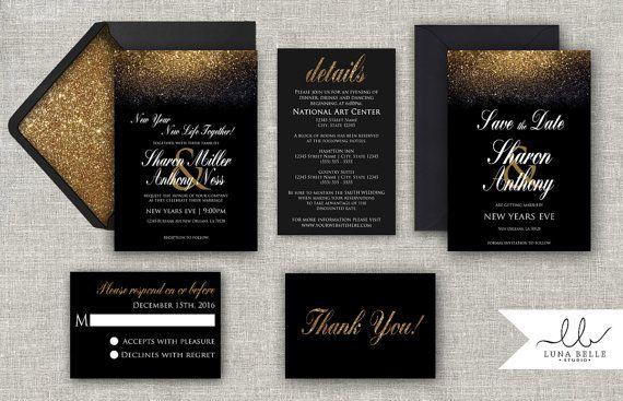 New Years Invitation Black Gold Silver Glitter New Years Eve Wedding Elegant Formal Wedding Invitation Set Printable Digital Printed