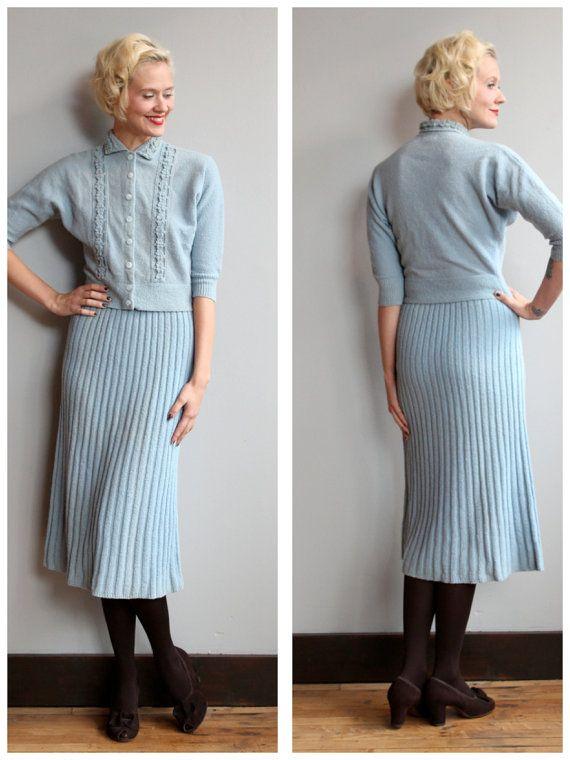 1950s Dress Set Icicle Knit Set Vintage By Dethrosevintage Vintage Knitwear 1950s Dress Set Dress