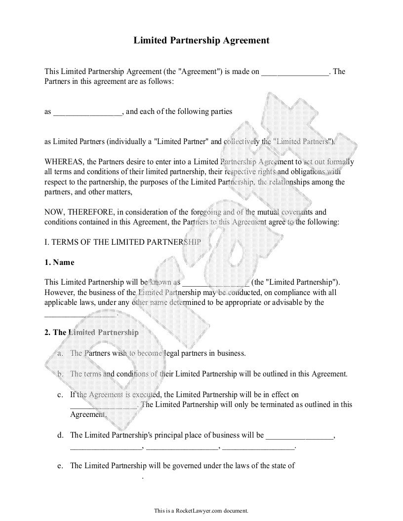 Limited Partnership Agreement Form With Sample  Partnership