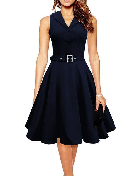 Sisjuly 50s 60s Women Vintage Dresses Summer Elegant Dress Sleeveless Party  Dresses dark blue style a line rockabilly dress bccba661fedc