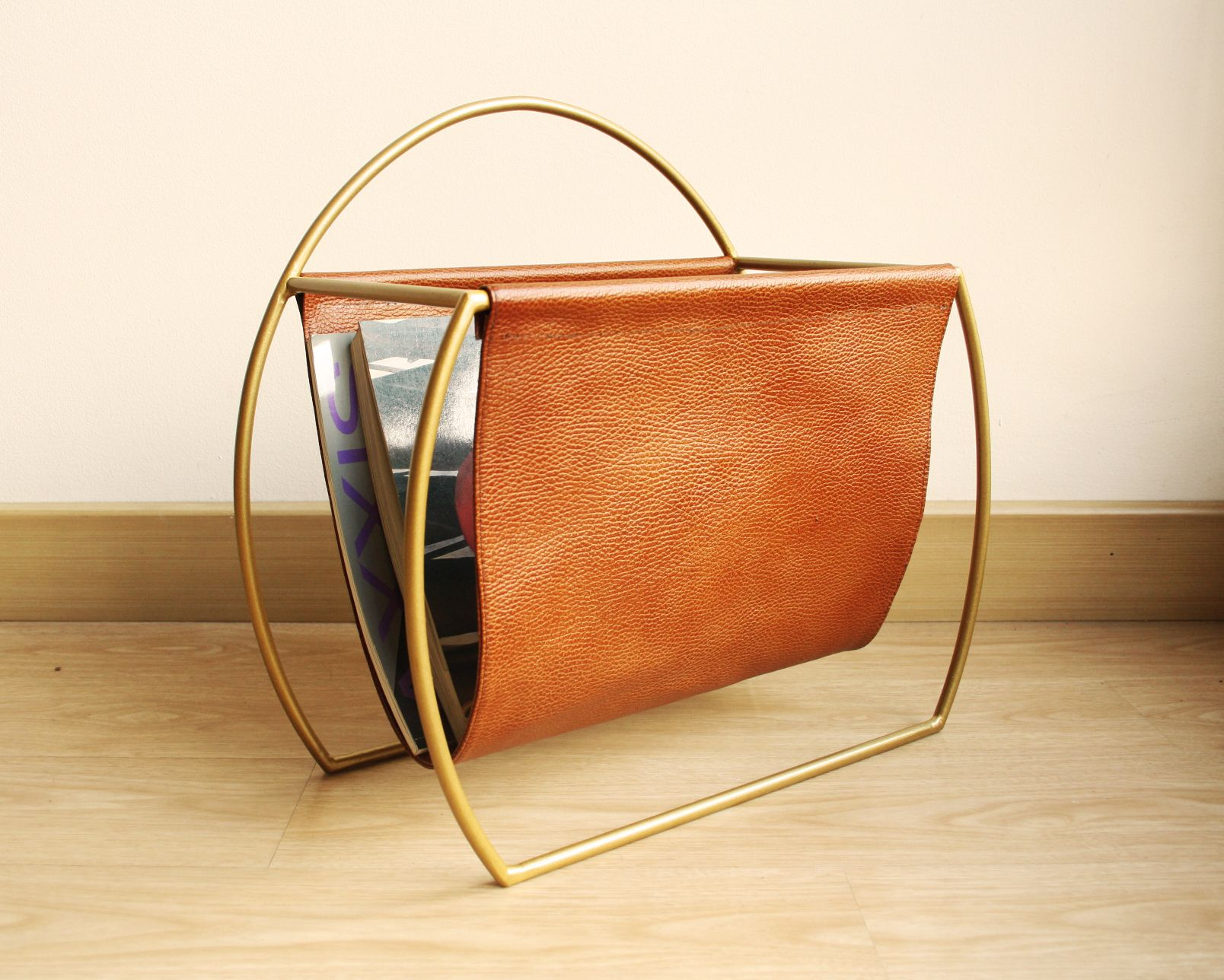 Gold Brass Brown Authentic Leather Magazine Rack Decorative Magazine Holder Leather Magazine Rack Unique Items Products Handmade Home