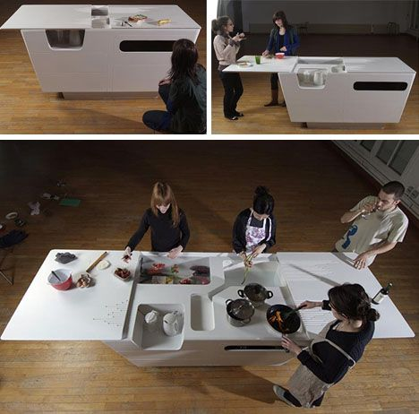 fold out furniture combined kitchen island work table - Kitchen Island Table Designs