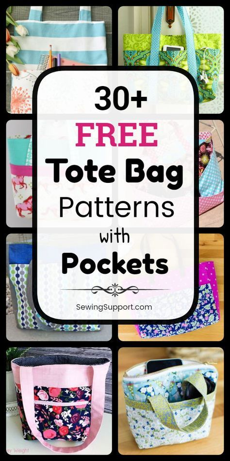 Tote Bag Patterns with Pockets to sew. 30+ free pocket tote bag patterns, tutorials, and diy sewing projects, including zippered designs. Great for women, men, kids, and school. Great diy gift idea. #SewingSupport #Tote #Bag #Pattern #Diy #Pockets #Projects #Tutorial #Sewing #bagpatterns