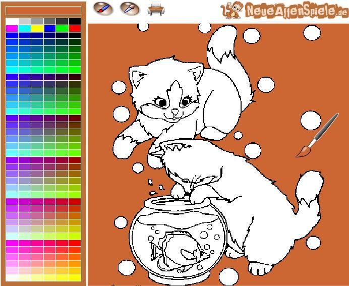 Eine Malvorlagen eines Druck und Katzen Zeichnung Ausmalbilder Spiel ...